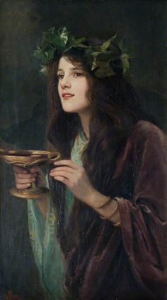 """Author Beatrice Offor - """"Circe"""", 1911 Circe {minor goddess of magic/sorceress} daughter of sun-god Helios and oceanid Perse. Classic Paintings, Beautiful Paintings, Greek Paintings, Wall Paintings, Painting Canvas, Renaissance Kunst, Wow Art, Classical Art, Fine Art"""