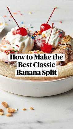 Ice Cream Desserts, Frozen Desserts, Ice Cream Recipes, Frozen Treats, Healthy Dessert Recipes, Easy Desserts, Delicious Desserts, Yummy Food, Banana Split Dessert
