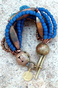 Exotic Multi-Strand Blue Glass and Copper Beaded Bracelet   XO Gallery
