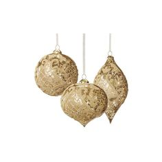 Set of Six Gold Vintage Glass Christmas Ornaments with Glitter... ❤ liked on Polyvore featuring home, home decor, holiday decorations, christmas, fillers, christmas ornaments, holidays, xmas, backgrounds and christmas holiday decorations