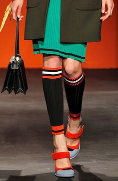 PRADA S S 2014 RUNWAY Black Ribbed Knit Cotton Socks with Red Stripes IT2  f94be9a59f