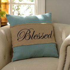 Blue Burlap Blessed Pillow