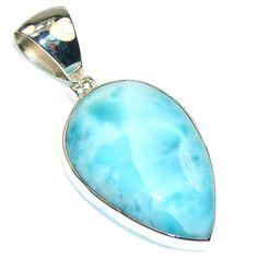 $112.15 Mystic Sky!! Light Blue Larimar Sterling Silver Pendant at www.SilverRushStyle.com #pendant #handmade #jewelry #silver #larimar