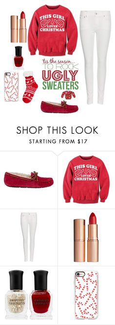 """""""#uglychristmassweater #contest"""" by brooklynqueen04 ❤ liked on Polyvore featuring UGG Australia, Polo Ralph Lauren, Charlotte Tilbury, Deborah Lippmann, Casetify, Christmas, contestentry and uglychristmassweater"""