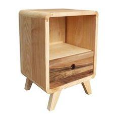 Table de chevet en bois de frêne et noyer avec tiroir Bulle ATELIER MOBIBOIS - Table de chevet