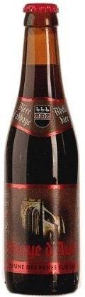 Cerveja Abbaye d'Aulne Brune des Pères Sur Lie, estilo Belgian Dubbel, produzida por Brasserie du Val de Sambre, Bélgica. 6.5% ABV de álcool.