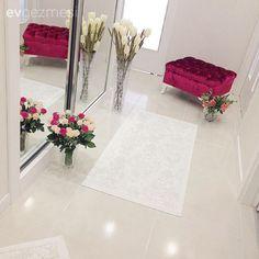 Beyaz, Bordo, Çiçekler, Halı, Hol
