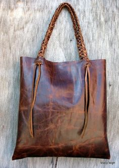 Distressed Brown Leather Tote Made to Order by Stacy Leigh