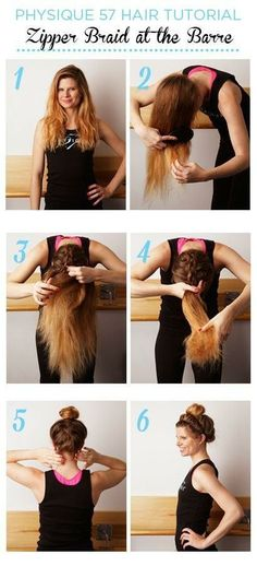 Braiding the underside of your bun/ponytail will keep loose strands from falling out during your workout.
