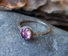 Faceted Brilliant Rose Cut 6mm Amethyst in Sterling Silver Crown Bezel