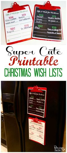 Super cute printable Christmas wish lists includes four categories: Want, Need, Wear, Read. Free printable! Design Dazzle