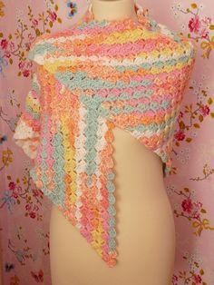 Crochet multicolor abrigo chal blanco rosa por Sunnydesignslimited