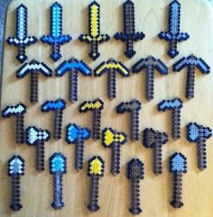 Handmade Minecraft tools from Perler beads! Gives it that same graphic look! I turned them into keychains! Pokemon Perler Beads, Diy Perler Beads, Perler Bead Art, Pearler Beads, Melty Bead Patterns, Perler Patterns, Beading Patterns, Pony Bead Crafts, Perler Bead Templates