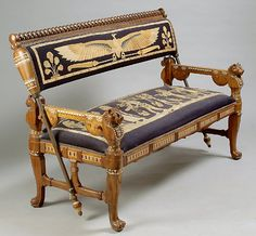 EGYPTIAN REVIVAL FOUR PIECE CARVED & INLAID LIVING ROOM SET, (05/08/2003)