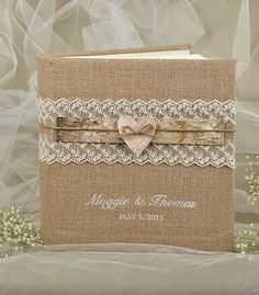 Burlap  Natural Birch Bark Wedding Photoalbum, Rustic  Guestbook,  Shabby Chic Burlap Photo Album, Lace , custom colors , embroidery names on Etsy, $120.00