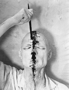 Günter Brus, Aktion, Self-painting 1: Painting by Hand, Painting by Head, Painting the Head, December 1964.