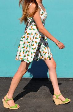 Pineapple Pin Up Dress & wedges. Summer outfit