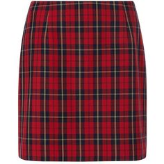 For an edgy look this season try this red tartan check skirt with black heeled boots and a black cropped tee.  All over check pattern.  A-line.  Mini length.  …