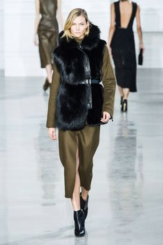 Jason Wu referenced strength and seduction for fall, both of which the collection had in spades. It also had a ton of fur and olive drab done in enough sophisticated, sexy ways, a girl would be happy to give her entire wardrobe over to it.   - HarpersBAZAAR.com