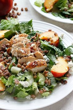 Cool, Crisp Nectarines, Creamy, Tangy Gorgonzola, Sweet and Crunchy Pecans all come together on a bed of Lettuce and Chicken to make a Refreshing and Fantastic Salad!