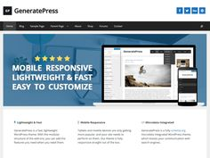 GeneratePress is a fast, lightweight (less than 1MB zipped), mobile responsive WordPress theme built with speed, SEO and usability in mind. GP can serve as a solid base for any website, and works great with any of your favorite page builders. With an emphasis on WordPress coding standards, we ensure GeneratePress is compatible with all well-coded plugins, including major ones like WooCommerce, WPML, BuddyPress and bbPress. GeneratePress is device friendly (mobile and tablet), uses 100%…