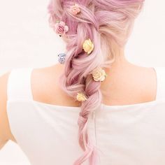Mixed Floral Bobby Pins in a Fishtail Plait Neutral Makeup Look, Dye My Hair, Crown Headband, Plait, Fishtail, Pink Hair, Bobby Pins, Makeup Looks, Hair Color