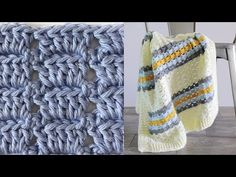 This crochet boxed block stitch blanket started with research of vintage stitches. I wanted to make a baby boy blanket using soft blue adding a touch of retro mustard and gray into the mix. But I wanted a classic stitch to accomplish the look. Crochet Throw Pattern, Baby Afghan Crochet, Crochet Quilt, Afghan Crochet Patterns, Beginner Knitting Patterns, Beginner Crochet Projects, Crochet For Beginners Blanket, Crochet Block Stitch, Crochet Videos