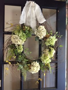 Hydrangea Thicket Wreath by TheColonialDoorstep on Etsy