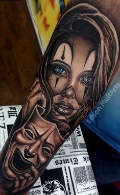 Tattoo Crane, Chicanas Tattoo, Skull Girl Tattoo, Girl Face Tattoo, Clown Tattoo, Girl Arm Tattoos, Cool Forearm Tattoos, Arm Tattoos For Guys, Leg Tattoos