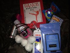 Dance Competition Survival nail polish remover, makeup remover wipes, cotton balls, band aids ,hair spray, tissues, pintailholder, lollipop,ring pop