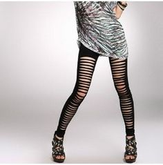 Black Slashed Goth Punk Leggings $13.56