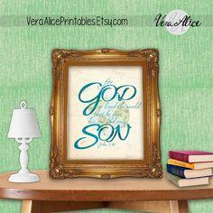 For God So Loved the World Scripture Printable - John 3:16