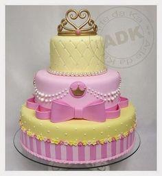 Pink n Yellow Princess Cake Baby Cakes, Girl Cakes, Pretty Cakes, Cute Cakes, Beautiful Cakes, Tiara Cake, Crown Cake, Fondant Cakes, Cupcake Cakes