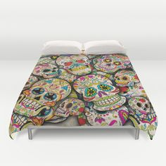 Buy ultra soft microfiber Duvet Covers featuring Sugar Skull Collage by Spooky Dooky. Hand sewn and meticulously crafted, these lightweight Duvet Cover vividly feature your favorite designs with a soft white reverse side. Skull Bedroom, Bedroom Decor, Sugar Skull Decor, Sugar Skulls, Inside A House, Grunge, Candy Skulls, Collage, My New Room