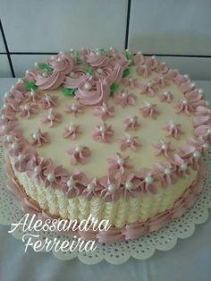 Lindo Vanilla Layer Cake Recipe, Layer Cake Recipes, Cake Decorating Piping, Cookie Decorating, Take The Cake, Love Cake, Cake Icing, Cupcake Cakes, One Tier Cake