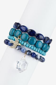 Danielle Stevens Beaded Assorted Charm Bracelet Set