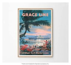 1930s Grace Line Caribbean Ocean Liner Art Travel Poster Vintage Nursery, Travel Posters, Caribbean, Nursery Ideas, Canvas Prints, 1930s, Cities, Retro Kids Rooms, Nursery Room Ideas