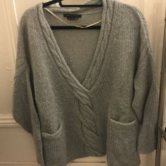 BCBGMaxAzria Sweater!  Light blue cozy sweater by BCBGMAXAZRIA! Fairly worn - one of my favorites. Still in great condition. Size S/M. Can fit both! BCBGMaxAzria Sweaters V-Necks