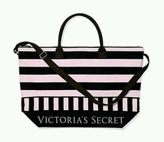Victoria's Secret Stripe Getaway Weekend Travel Gym Tote Duffle ...