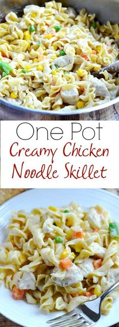 One-Pot Creamy Chicken Noodle Skillet - a comforting and easy dinner that your whole family will love! It has only seven ingredients (plus salt and pepper), contains all natural ingredients, and it is made in only one pot.