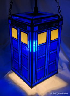 On Sale TARDIS Pendant/Table Lamp  Stained by MidianCraftworks, $320.00