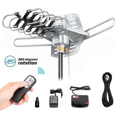 TV Antenna - Outdoor Amplified HD digtal Hdtv Antenna 150 Mile Range Motorized 360 Degree Rotation TV Antenna for 2 TVs Support - UHF/VHF Signal Wireless Remote Control - Coax Cable, Black Best Outdoor Antenna, Buy Tv, Internet Tv, Circuit Diagram, Power Cable, Wifi, Remote, This Or That Questions