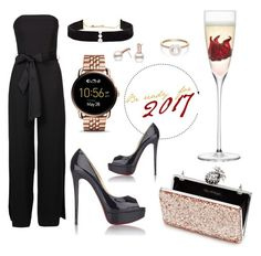 """""""For the New Year."""" by xkanelx ❤ liked on Polyvore featuring Miss Selfridge, Christian Louboutin, LSA International, Anissa Kermiche, FOSSIL and Sophie Bille Brahe"""