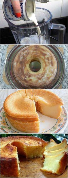 SIMPLES E DELICIOSO,BOLO LISO!! VEJA AQUI>>>Coloque no copo do liquidificador, o leite, os ovos, o açúcar, o leite condensado, a manteiga e a farinha de trigo. Tampe e bata até incorporar todos os ingredientes, cerca de 3 minutos. #receita#bolo#torta#doce#sobremesa#aniversario#pudim#mousse#pave#Cheesecake#chocolate#confeitaria