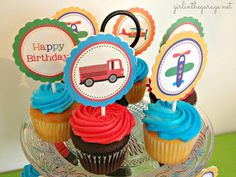 Planes, Trains, and Automobiles Birthday Party by Girl in the Garage & Kiyomi Designs.  (Cupcakes and cupcake toppers.)