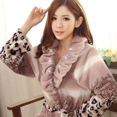 2016 new Autumn Winter women cute sleepwear robe long-sleeve flannel fleece bathrobe femal thickening warm bathrobes pajamas
