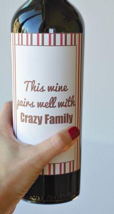 Free Thanksgiving printable wine label