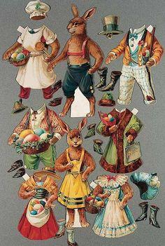 German Mr. and Mrs. Bunny Paper Dolls by Wezel & Naumann.