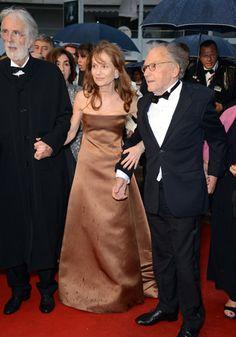 Michael Haneke arrive pour la projection de son film,Amour, accompagné de ses comédiens Isabelle Huppert et Jean-Louis Trintignant. Cannes 2012