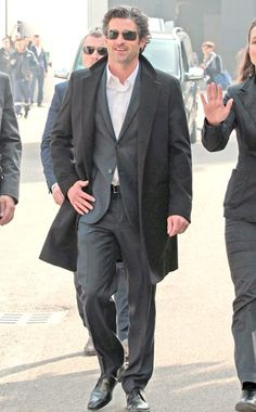 The oh-so-spexy Patrick Dempsey (aka McDreamy) stepped out in chic rimless shades and a casual dark gray suit while takin' a stroll in Milan!